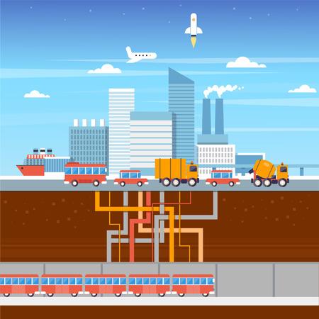 cars on road: Urban landscape vector illustration. Subway, city, cars, road, airplane, rocket ship. Flat style. Illustration