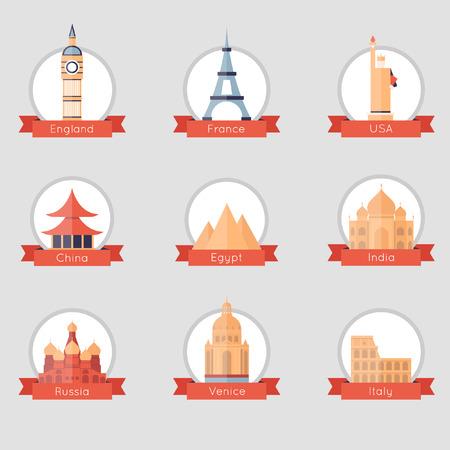 world heritage: Famous world landmarks set of flat design icons. Russia, India, Egypt, France, USA, China, Italy, England. Isolated label. Vector flat illustration.