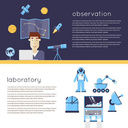 astronomer: Laboratory for Space Research, astronomer at the workplace. Laboratory workspace and workplace concept. 2 banners. Flat design vector illustrations.