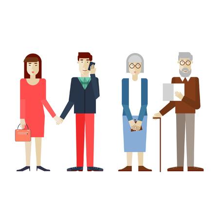oude krant: Oude en jonge mensen. Vlakke stijl vector illustratie.