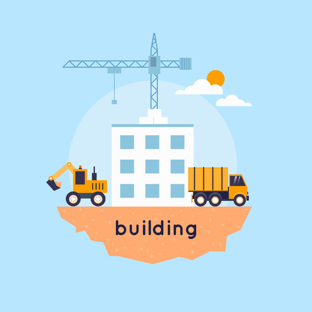 Construction. Truck and excavator on a construction site. Building a house. Flat icons vector illustration.