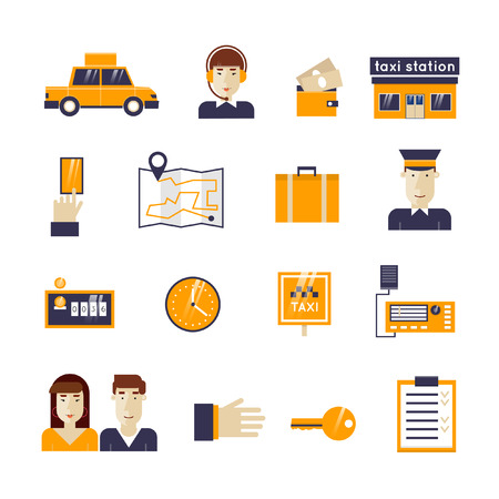 the driver: Taxi service set icons: taxi driver, money, passenger, dispatcher, money, taxi, hand, portable radio, driver, route, things, counter, time. Flat design vector illustration. Illustration