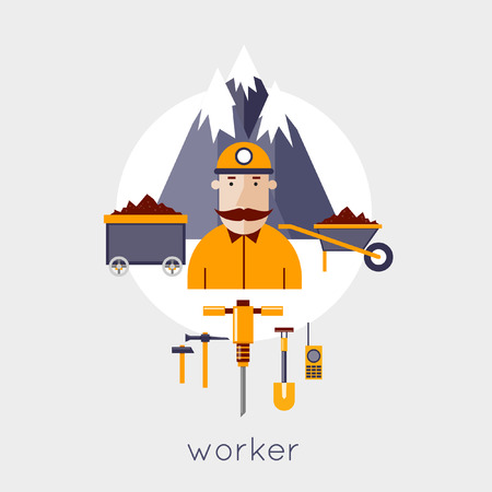 coal miner: Mineral mining, black mining, coal industry. Illustration of a coal miner with work tools icons and mountains on background. Flat design vector illustration. Illustration