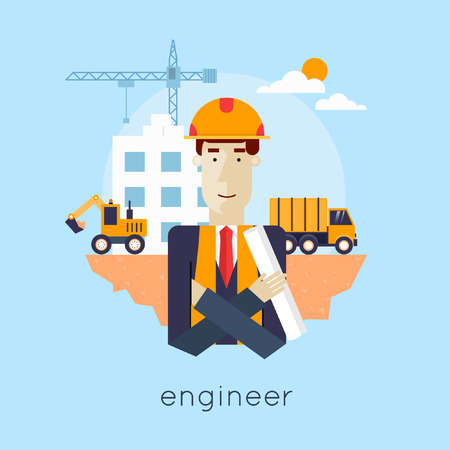 site: Construction. Engineer, builder, architect, foreman at a construction site. Truck and excavator on a construction site. Building a house. Flat icons vector illustration. Illustration
