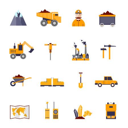 carbone: Estrazione minerali, miniere nero, icone di industria carboniera set: montagna, camion, martello, pala, operaio, fabbrica, carrello, diamante, terreni, auto, scarpe, carta, radio, esplosivi. Elementi di design piatto.