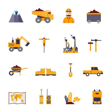 Mineral mining, black mining, coal industry icons set: mountain, truck, hammer, shovel, worker, factory, trolley, diamond, land, car, shoes, map, radio, explosives. Flat design elements.