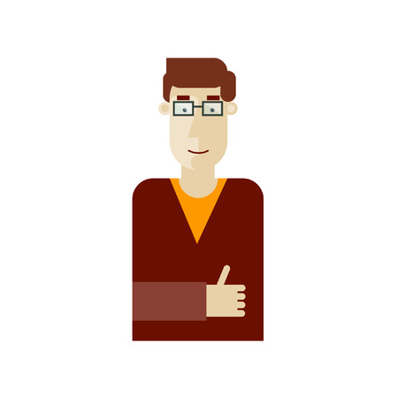 finger proof: A man shows a gesture all is well. Vector illustration. Flat design.