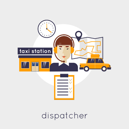 taxi: Taxi dispatcher, young woman talking on a headphone. Taxi service concept. Flat design vector illustration.