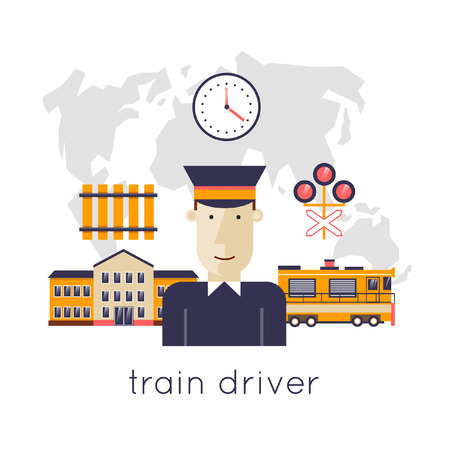 conductors: Railway station concept. Driver of the train station on the background of the train and maps. Train, watch, backpack, map, train station, rails. Flat icons vector illustration. Illustration