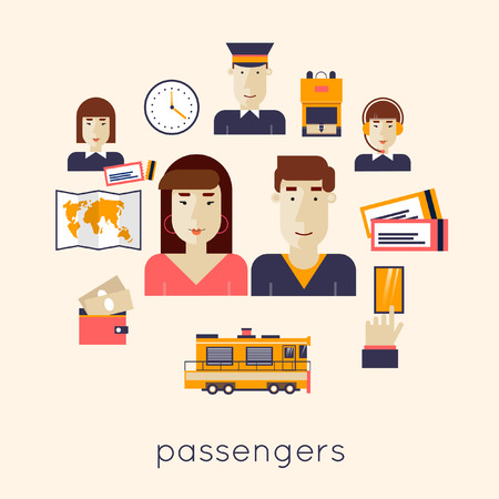 the railway: Railway station concept. Man and woman train passengers. Train, watch, backpack, map, rails, controller, driver of the train, dispatcher, money, order tickets. Flat icons vector illustration.