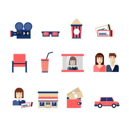 Set of sixteen cinema flat icons: projector, man, woman, chair, popcorn, movie, glasses, ticket inspector, cinema, cars, cash, money, cashier. Movie flat design elements. Vettoriali