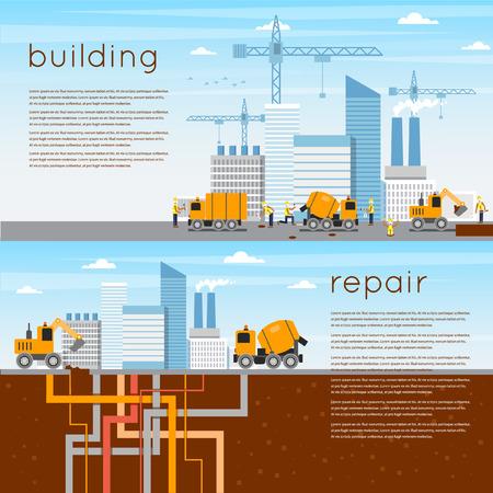 materiales de construccion: Construcci�n. La construcci�n de una casa, los trabajos de reparaci�n. 2 banderas. Iconos planos ilustraci�n vectorial.
