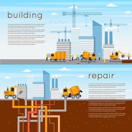 construction equipment: Construction. Building a house, repair work. 2 banners. Flat icons vector illustration. Illustration