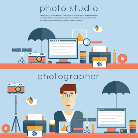 Workplace photographer, photo studio. Photographer and tools for photo. Desktop, workspace, workplace. 2 banners. Set of flat design vector illustration. Set icons.