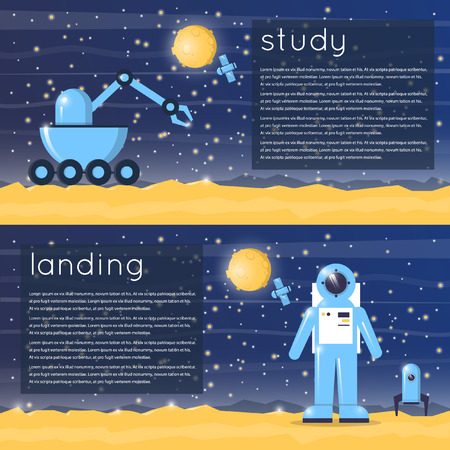 moonwalk: Astronaut landed on the planet. Moon-walker exploring the planets surface. 2 banners. Flat design vector illustrations. Illustration