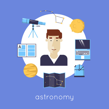 optical people person planet: Astronomer icons in circle. Telescope, planet, moon, map, observatory, constellation, computer. Flat icons vector illustration. Illustration