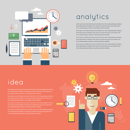 analytic: Web analytics elements, optimization, programming process concept. Hands on the laptop. A man who had the idea. Ideas concept. Flat design.