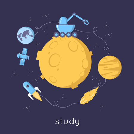 Space research. Moon icons in circle: moon-walker, satellite, rocket, planet, asteroid. Flat design vector illustration.