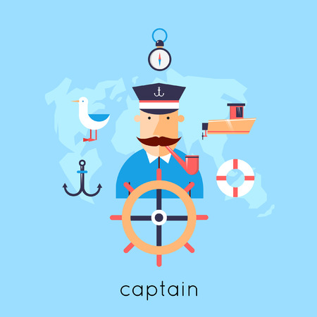 sailor hat: Ship captain at the helm and set of icons. Flat design vector illustrations. Illustration