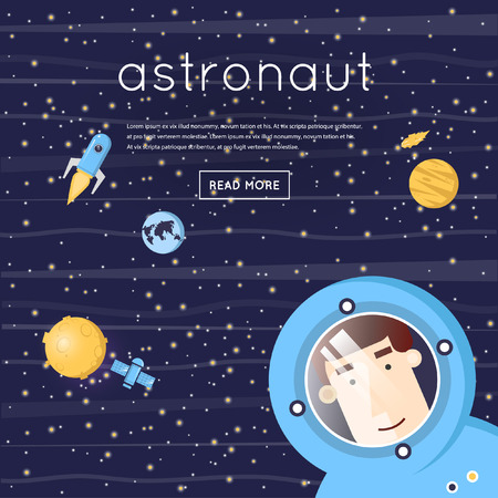 Astronaut in space. Moon, moon-walker, satellite, rocket, planet, asteroid. Flat design vector illustration. Illustration