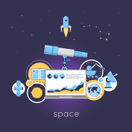 optical people person planet: Laboratory for Space Research. Laboratory workspace and workplace concept. Flat design vector illustrations. Illustration