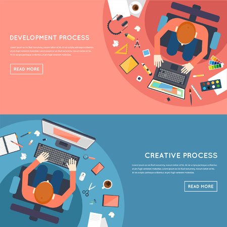 consulting: Business strategy, planning, analytics, management, consulting, meeting, career. Designer workspace with tools and devices. Development process. Top view. Flat design illustration. Banners.