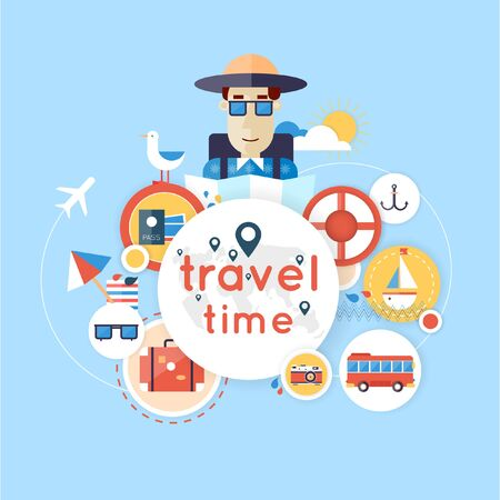 tourism: World Travel. Planning summer vacations. Summer holiday. Tourism and vacation theme. Flat design vector illustration. Material design.
