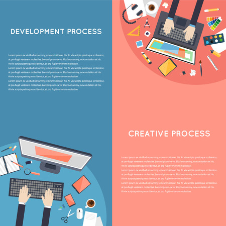 consulting business: Business strategy, planning, analytics, management, consulting, meeting, career. Designer workspace with tools and devices. Development process. Top view. Flat design illustration. Banners.