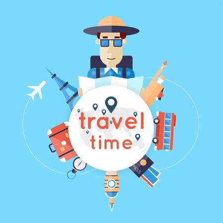 World Travel. De planning van de zomervakanties. Zomervakantie. Toerisme en vakantie thema. Platte ontwerp vector illustratie. Ontwerp van het materiaal.