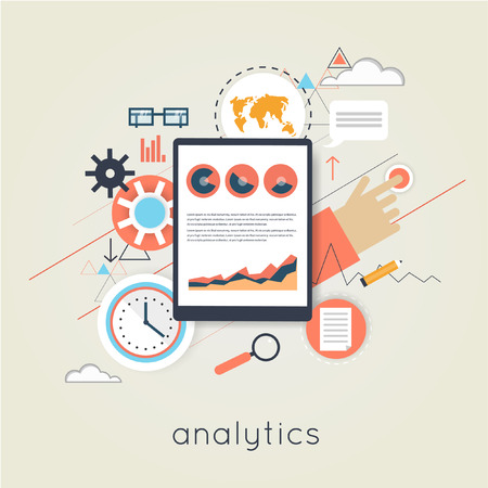 Flat design web analytics elements, optimization, programming process concept. Material design.