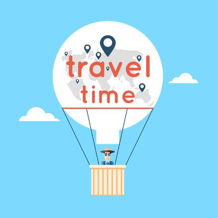 estate: L'uomo in una mongolfiera e nuvole. World Travel. Pianificazione vacanze estive. Vacanze estive. Turismo e il tema di vacanza. Piatto progettazione illustrazione vettoriale. Vettoriali