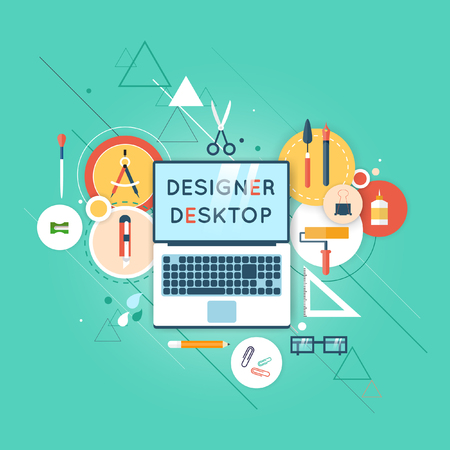 workspace: Concepts for creative process, graphic design, design agency. Designer working on notebook. Illustrator workspace with tools and devices. Flat design illustration. Desktop top view.
