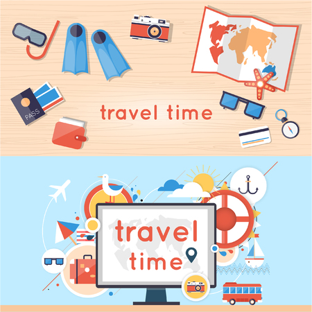 vacation: World Travel. Search for tour to the Internet using a computer. Planning summer vacations. Summer holiday. Tourism and vacation theme. 2 banners. Flat design vector illustration. Material design. Illustration