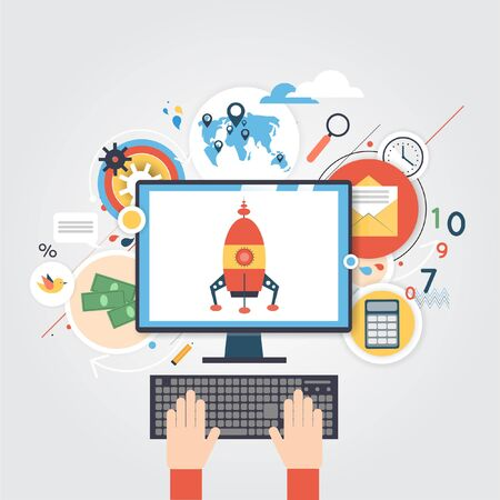 worker working: Start-up business. Startup development. Business project. Material design. Office worker working on computer. Brainstorming. Planning and marketing ideas. Modern Flat illustrations. Illustration