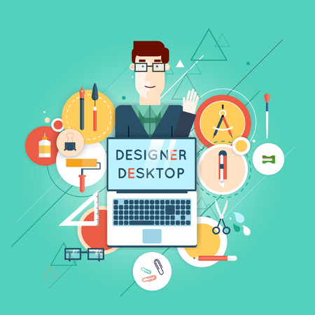 workday: Designer character and workspace with tools and devices in modern flat style. Material design. Creative process, graphic design, design agency. Workday. Desktop. Set of flat icons. Illustration