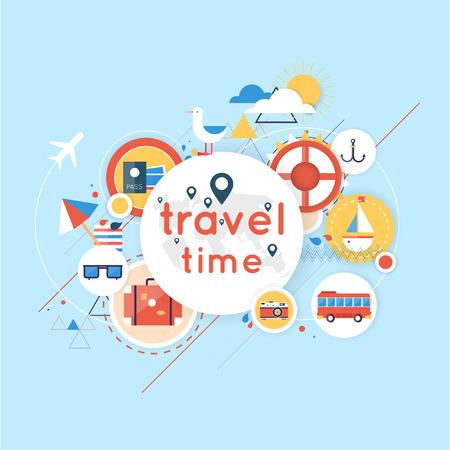 verano: Viajes Mundial. Planificación de las vacaciones de verano. Vacaciones de verano. Turismo y tema de vacaciones. Ilustración vectorial Diseño plano. Diseño de materiales.