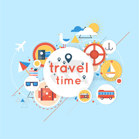 estate: World Travel. Pianificazione vacanze estive. Vacanze estive. Turismo e il tema di vacanza. Piatto progettazione illustrazione vettoriale. Design dei materiali. Vettoriali