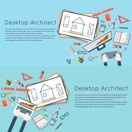 architectural team: Architects workplace. Architecture planning on laptop top view. Architectural project, architectural plan, technical project. Engineering for building houses. 2 banners. Flat design Illustration
