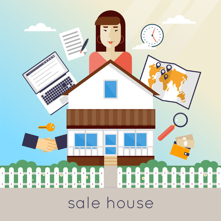 buy sell: Real estate agent. Female seller. Buy, sell, rent, money, savings, interest, mortgage. Flat design vector illustration. Illustration