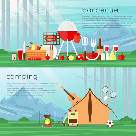 bbq picnic: Camping landscape with tent and bonfire. Barbecue set of flat Icons. Landscape with trees and mountains. Adventure. Colorful design. Set icons. Vector flat banner set. Summer picnic grill party.