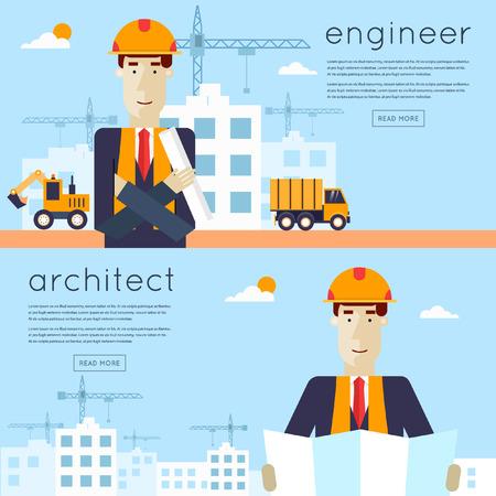 Construction. Ingénieur, architecte, contremaître sur un chantier de construction. Architecte tenant un projet. Camions et pelles sur un chantier de construction. Construire une maison. Icônes plates illustration vectorielle.