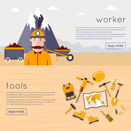 Mineral mining, black mining, coal industry. Tools miner lie on a wooden table. Illustration of a coal miner with work tools icons and mountains on background. Flat design vector illustration. Banners Illustration