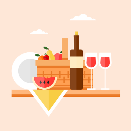 picnic tablecloth: Picnic basket filled with food standing on a wooden table. Summer picnic, barbecue. Isolated vector illustration. Flat design. Illustration