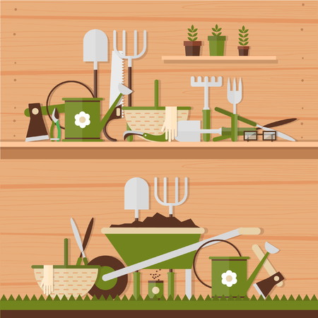 garden design: Garden tools. Environmental activities. Gardening icons set. Modern flat style. Vector illustrations. 2 banners.