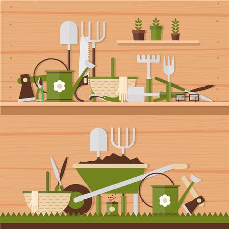 jardinero: Herramientas de jardinería. Actividades ambientales. Iconos de jardinería establecen. Estilo plano Moderno. Ilustraciones del vector. 2 banderas.