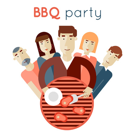 summer picnic: Summer picnic grill party. Barbecue. Man frying meat on the coals for the company. Flat style. Poster.