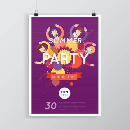 people having fun: Night club, parties. People having fun. Flat style. Poster.
