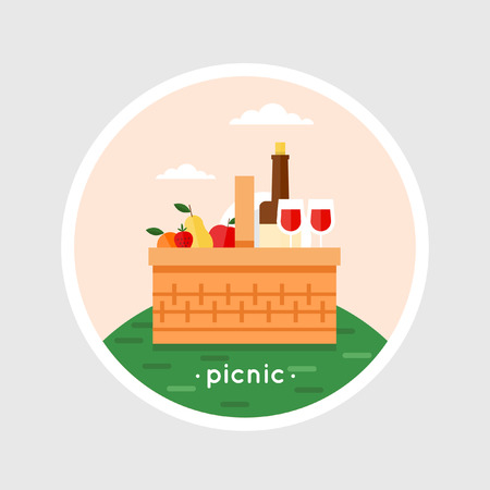 picnic basket: Picnic basket filled with food standing on the grass. Summer picnic, barbecue. Isolated vector illustration. Flat design.