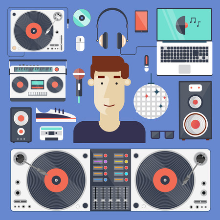 dj turntable: DJ and set of icons. Night club. Party, music composing, design elements for mobile applications and info-graphics in modern flat style.
