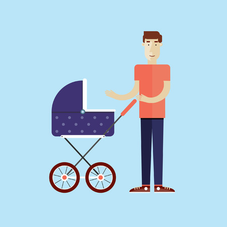 Fathers Day. Man stands with a sidecar. Flat design vector illustration.